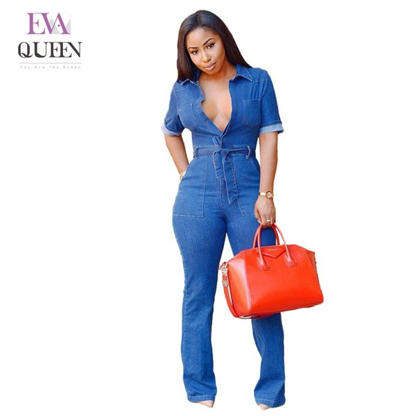 Evaqueen Rompers Women Denim Jumpsuits Wide Leg Pants 2018 Summer Autumn Sleeves Long Jeans Sexy Deep V Sashes Solid Bodysuit