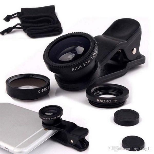 Fabrika fiyat Fabrika fiyat Balık gözü lens 3 1 evrensel cep telefonu kamera geniş + makro + balıkgözü lensler sıcak satmak toptan