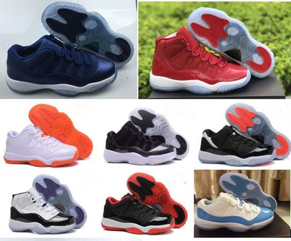 11 Basketball Shoes 2018 j 11s High Quality concord red blue space jam 45 XI big girls size 36-40 kids Sneakers free shipping