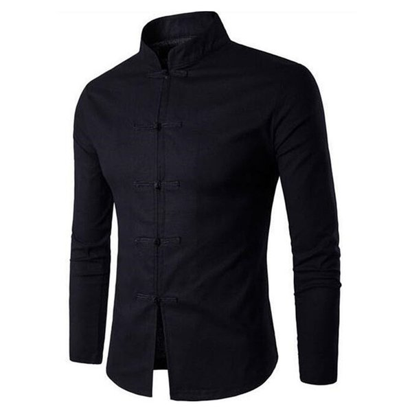 Chinese Style Male Shirt Black White Tang Suit Vintage Cloth buttons Stand Collar Dinner Blouse Long Sleeve Gentleman Tops