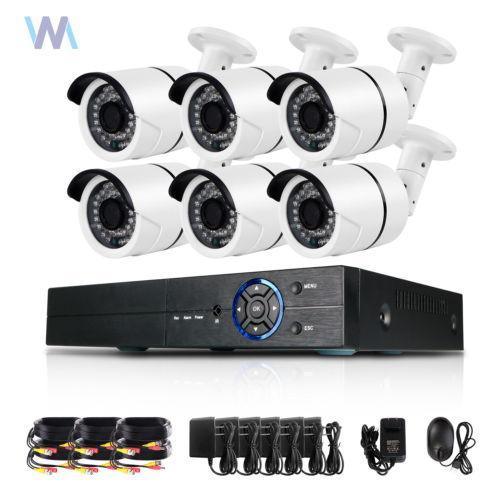 6X 8CH Channel Hybrid DVR AHD 4MP IR Night HD Home Video Security Camera System