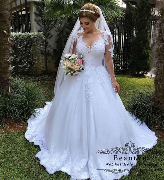 Luxury Nigerian Lace Ball Gown Wedding Dresses Illusion Sheer Long Sleeve White Plus Size Country 2018 Bridal Gowns Cheap Robe de mariée