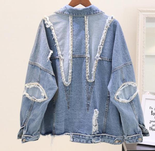 2018 neue Frühling Herbst Frauen Bettler Cowboy Mantel Weibliche Schwere Pailletten Perlen Denim Jacken Lose Outwear Mäntel