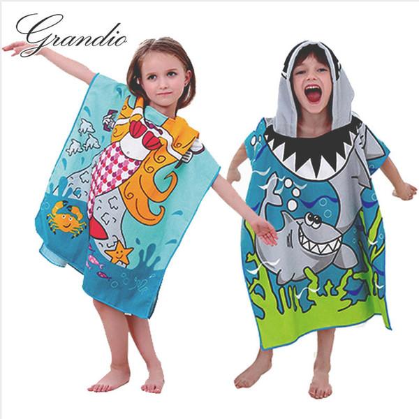 Bebé con capucha Toalla de baño Poncho Niños Niños Albornoz Toallas Toalla de baño Seca absorbente de microfibra Viajes Deportes Playa Toalla