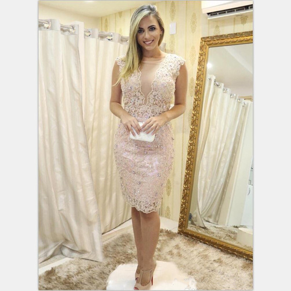 Sheath Short Cocktail Dresses Lace Knee Length Crystal Beaded Club Wear Homecoming Graduation Party Gown Plus Size Custom Made
