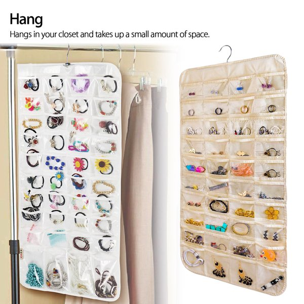 PVC 80 Pocket Jewelry Wall Hanging Storage Organizer Collapsible Holder Earring Bag Pouch With Hook 2 Colors AAA512