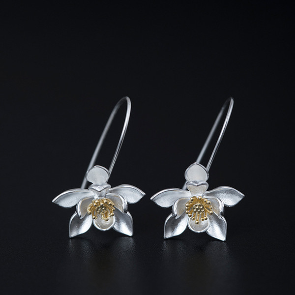 befd26ea856f1 2019 New Arrival 925 Sterling Silver Earring Fashion Ancient Literary And  Artistic Lotus Flower Earrings Stud Charm Wholesale Woman Jewelry China  From ...