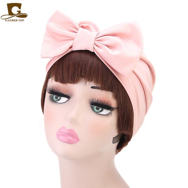 New Bride Hijab Cap Silky Chemo Hat Turbante musulmano fasciatura delle donne copricapo di moda Bow Knot per la festa nuziale Accessorio per capelli