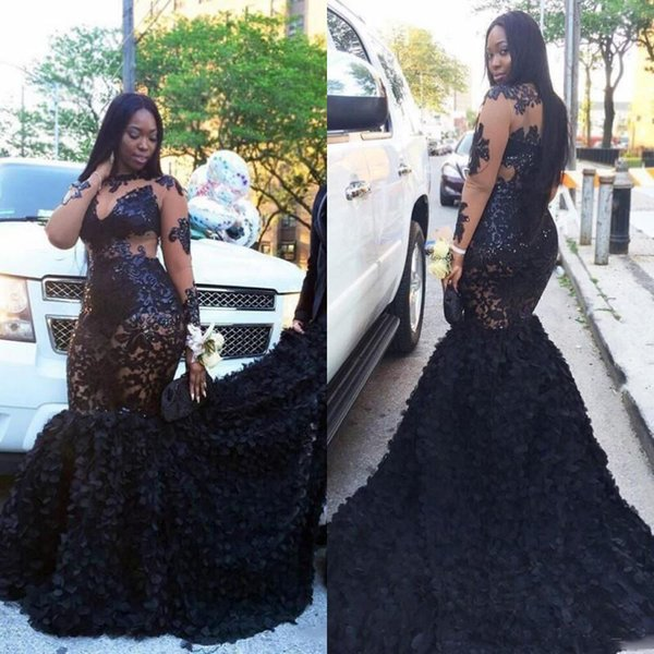 African Plus Size Prom Dresses Long Appliques Sheer Neckline Mermaid Evening Gowns Sleeves Tiered Black Girls Formal Dresses Evening Wear