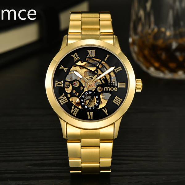 MCE Luxury Gold Men Watch Men Roman Numerals Stainless Steel Watch Automatic Mechanical Business Male Clock Wrist 331