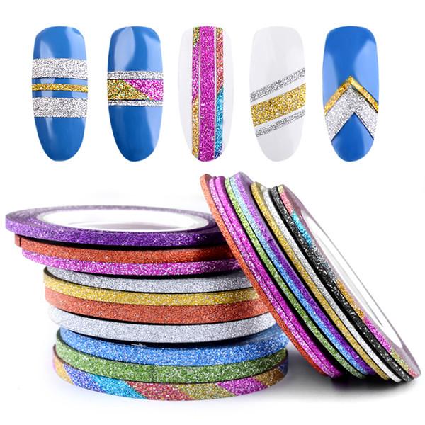10 Rollos Colores Mezclados Nail Art Striping Glitter Line Line Autoadhesivas Pegatinas Para UV Gel Polish 3D Nail Art Decoraciones Herramientas