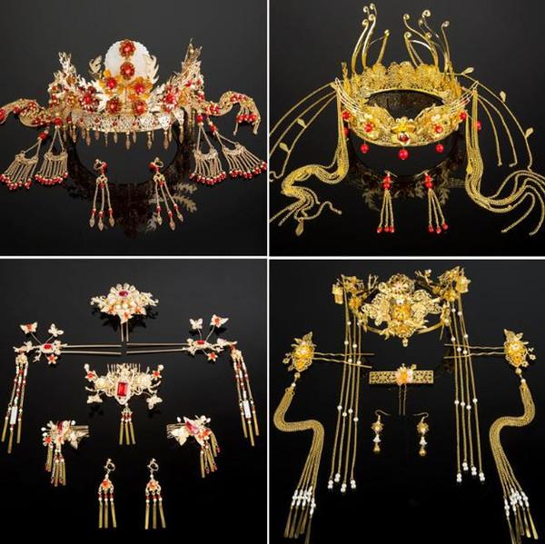 Nuove spose headwear show dress, costumi antichi Cinese antico Phoenix Crown Abito da sposa Set Accessori da sposa