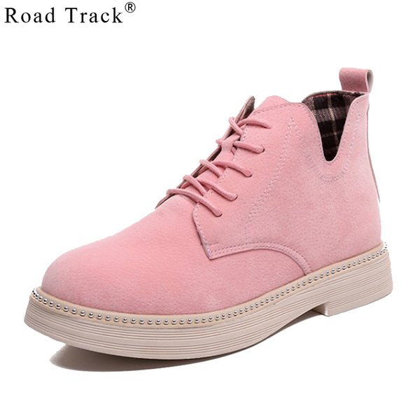 Road Track Women Autumn Winter Ankle Boots Lace-up Cross-tied Solid Color Ladies Shoes Flat With Flock Boot Female XWC2745-45