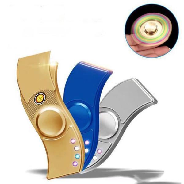 Pop LED Hand Spinner Aluminium Alloy USB Charger 3 In 1 Functions Fidget Spinner Cigarette Lighter Charging USB Gyro Finger Tip Cube
