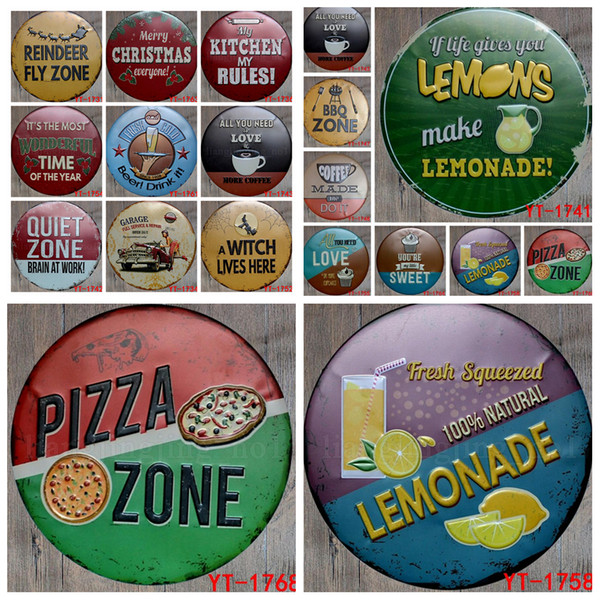 30cm Round Vintage Retro Metal Sign Poster Plaque canteen Bar Pub caffee Club Wall Home Decor art metal Painting FFA601 20pcs