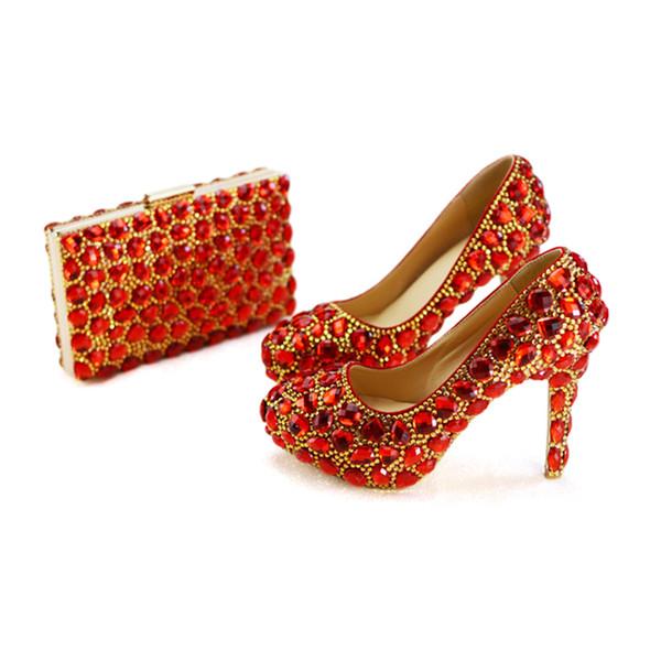 Rot und Gold Mix Stein Hochzeit Schuhe mit passender Geldbörse Handmade High Quality 4 Zoll High Heel Frauen Party Prom Pumps Tasche