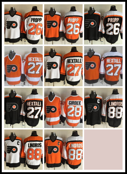 top popular CCM Newest Men Stitched Philadelphia Flyers Blank #26 PROPP #27 HEXTALL #28 GIROUX #88 LINDROS White Black Orange CCM Ice Hockey Jerseys 2019