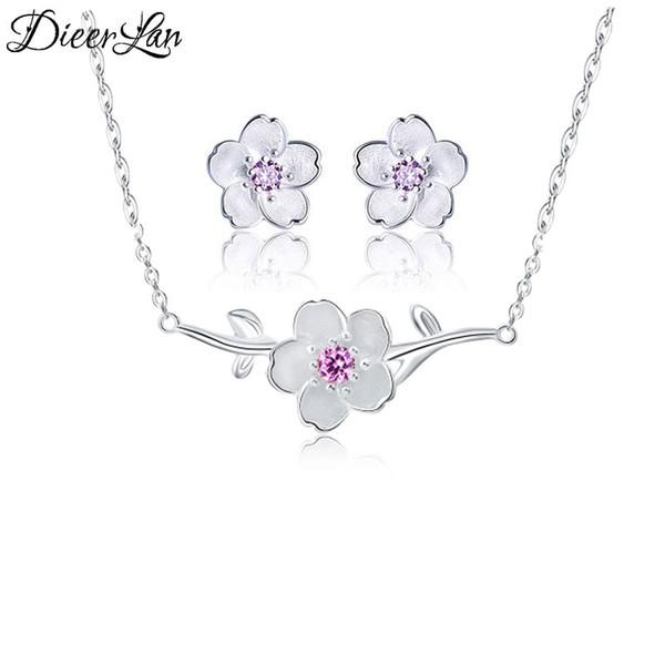 Moda 925 Sterling Silver Cherry Blossoms Flores Brincos Colares Conjuntos de Jóias Pingente para Mulheres sterling-silver-jewelry