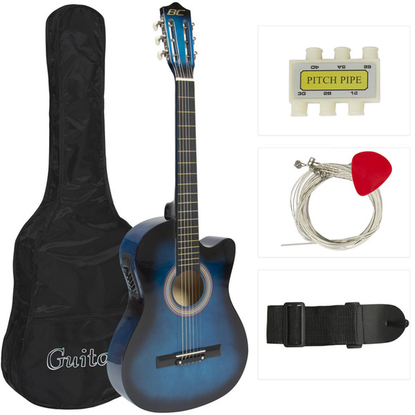 top popular Electric Acoustic Guitar Cutaway Design With Guitar Case, Strap, Tuner New-Blue 2020