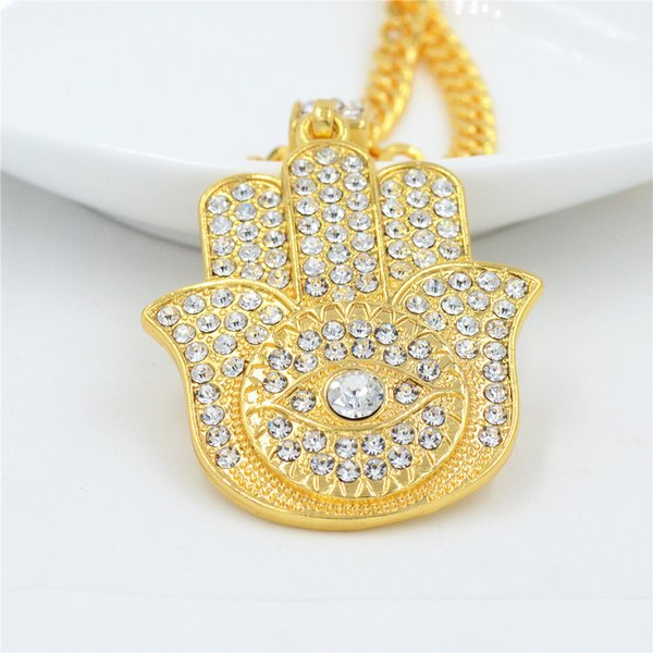 Fatima Hamsa Hand Crystal Necklaces & Pendants For Women Fashion Gold Color Crystal steel stainless hiphop Turkey Jewelry
