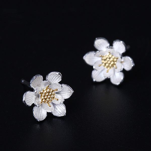 Designer jewelry fashion charm 925 Sterling Silver stud earrings Lotus Flower Earrings 14K Gold Plated studs wholesale women china direct