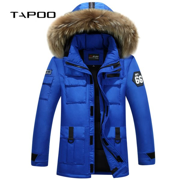 Down jacket men winter 2018 new brand Fur collar long thick Loose hooded white duck down parkas jackets for man feathers