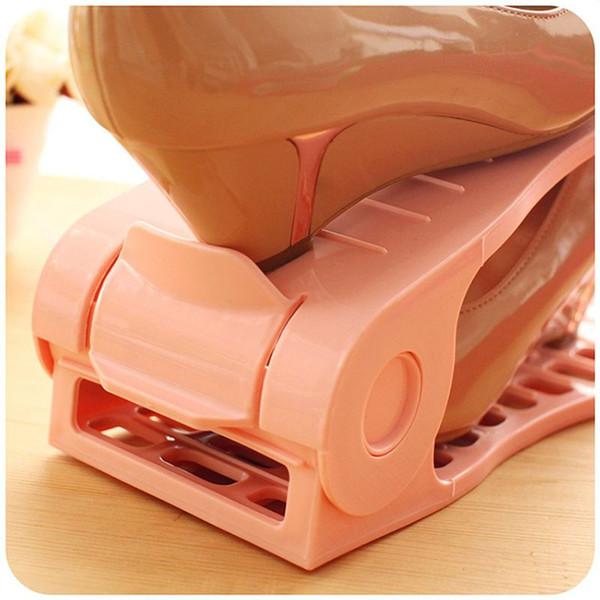 Suspensión de zapato ajustable de doble capa Suspensión de calzado simple Suspensión de calzado de plástico Zapata de almacenamiento de doble capa en rack
