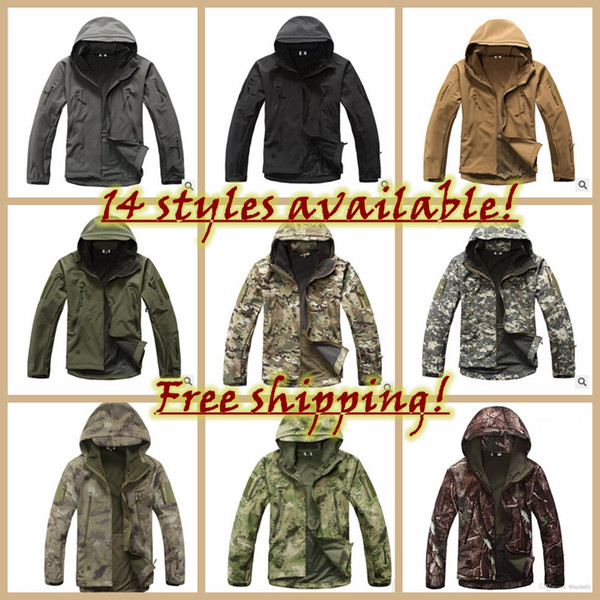 Fashion Skin Softshell Military Tactical Jacket Men Waterproof Windproof Warm Coat Camouflage Hooded Camo Army Clothing free shipping H1
