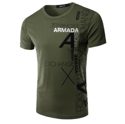 2018 Europa und den Vereinigten Staaten Explosion Modelle Sommer Herren neue Männer Druck Rundhals Kurzarm-Casual Slim T-Shirt