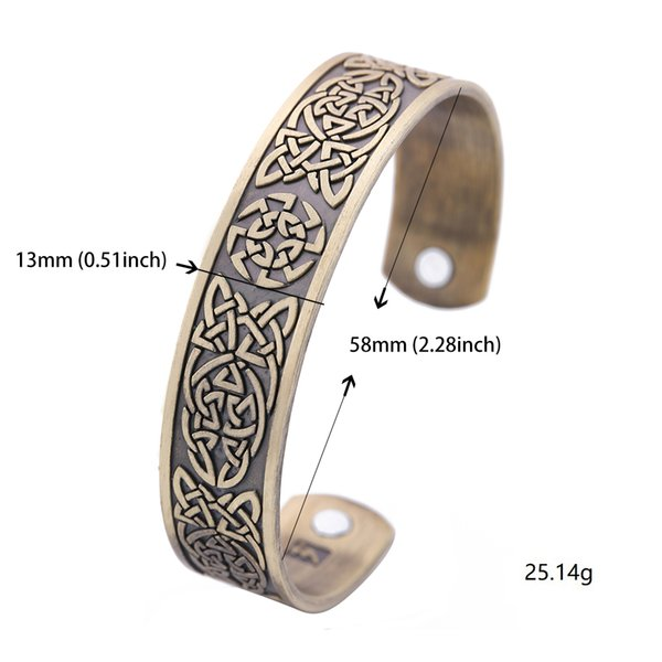 My Shape New Arrival Antique Bronze Classic Irish Celtic Knot Bracelet Magnetic Therapy Cuff Bangle Irish Pattern Jewelry for Man Gift