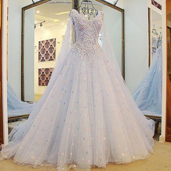 Latest Beaded Evening Gown Dresses For Womens Designs Light Blue Robe Orientale Arabe Sweep Train Sleeveless Long Cape Evening Dress Croatia