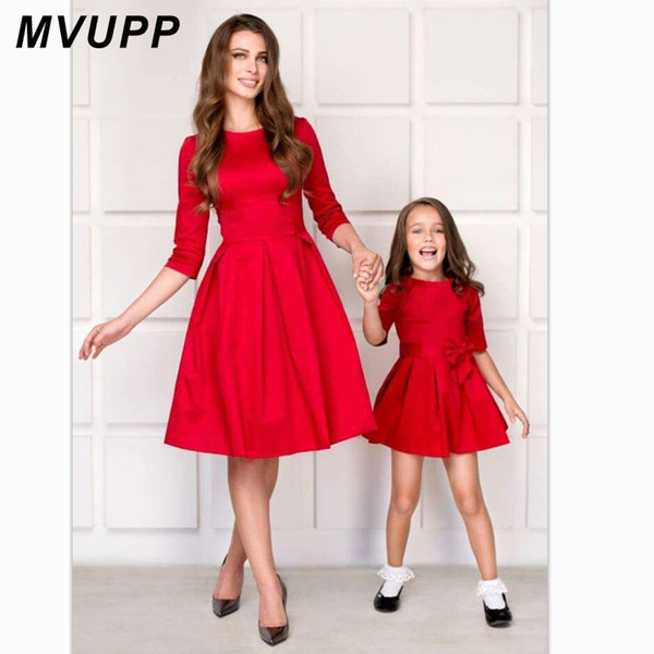 MVUPP mom and daughter matching clothes bows half sleeve mother baby dresses mommy me outfits for girls mama family look dress