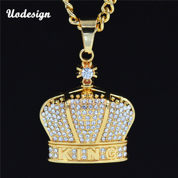 Uodesign New arrived Men Hiphop iced out king of crown pendant necklaces Crystal fashion Hip hop necklace jewelry gifts