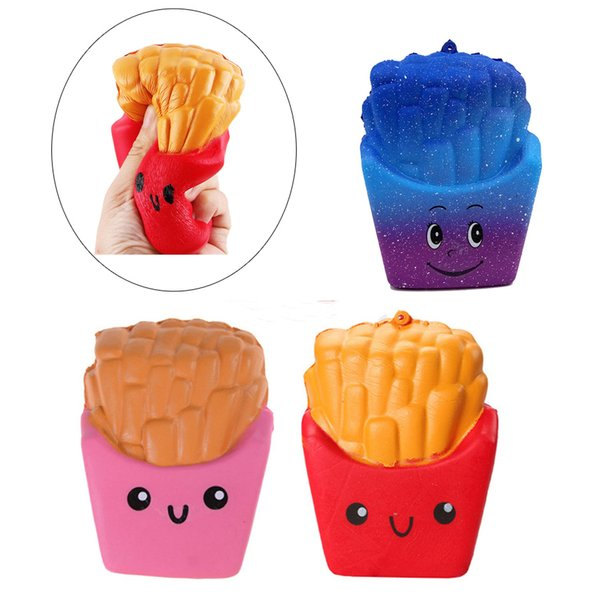 best selling Colorful Kawaii Cute Jumbo French Fries Squishy Soft Scented Bread Cake Squishy Stretch Fries squishies Free DHL FD0015