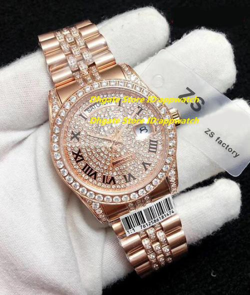 5 Style Best Edition Reloj ZS Factory 38mm Day-Date Full Diamond Bisel Pulsera 18k Gold Swiss Movement Automático Relojes para hombre