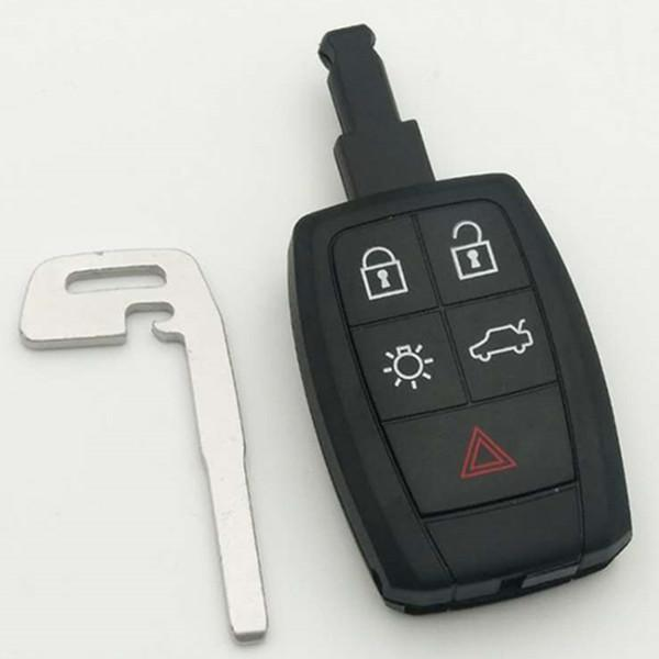 New 4+1 button smart remote key shell Fob case for Volvo key cover with emergency small key blade 5pcs/lot