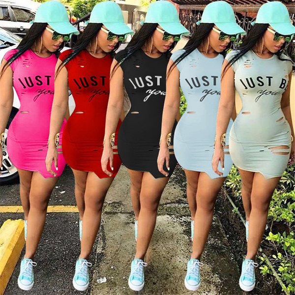 Women Just Be You Letter Dress Summer Ripped Holes One-piece Dresses Short Sleeve Skirts Bodycon Brief T shirt Skirt Sports Tights Clothes