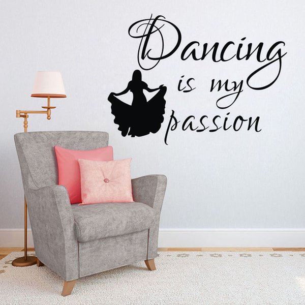 Dancing Is My Passion Wall Decals Removable Stickers Home Decor Dancer Wall  Stickers For Girls Bedroom Beach Wall Stickers Bedroom Decal From ...