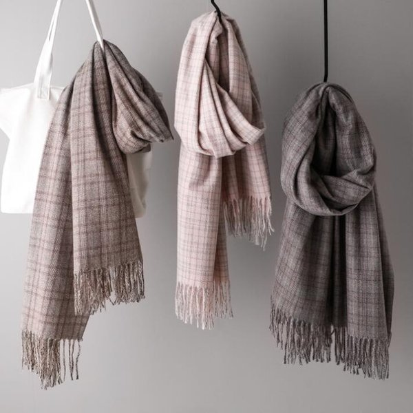 cashmere scarf New colored tasseled English small fine plaid and thick warm scarf for lady shawl and imitation