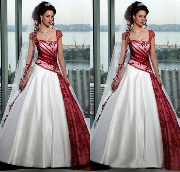 White And Red Wedding Dresses 2018 Satin Plus Size Square Neck Lace Applique Ball Gown Bridal Gowns vestido de novia With Floor Length