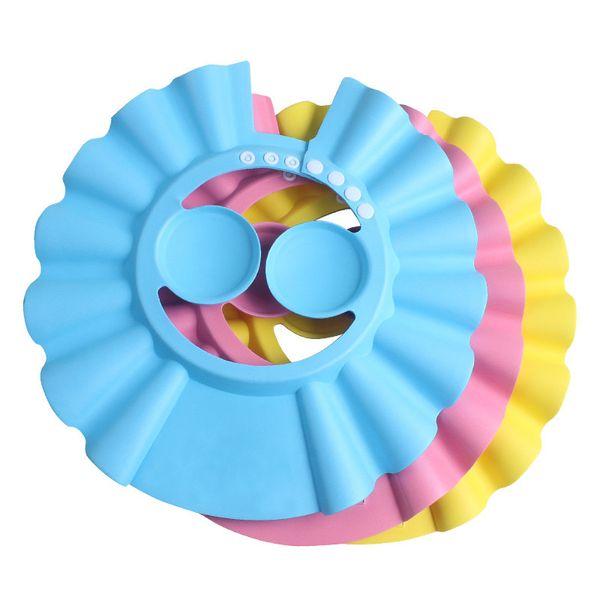 Soft Baby Children Shampoo Bath Shower Cap Kids Bathing Cap Bath Visor Adjustable Hat Wash Hair Shield with Ear Shield Hats 1000Pcs