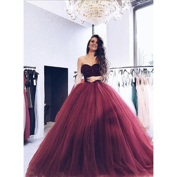 2018 Ball Gown Quinceanera Dresses Burgundy Sweetheart Beaded Lace Appliqued Top Puffy Princess Tulle Court Train Debutante Gowns