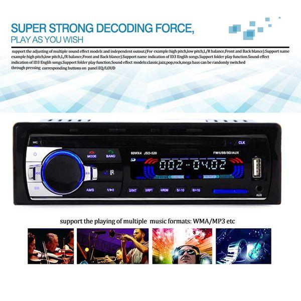 best selling JSD520 Car Radio 12V Bluetooth V2.0 Car Stereo MP3 In-dash 1 Din FM Aux Input Receiver SD USB MP3 MMC WMA Car Radio Player