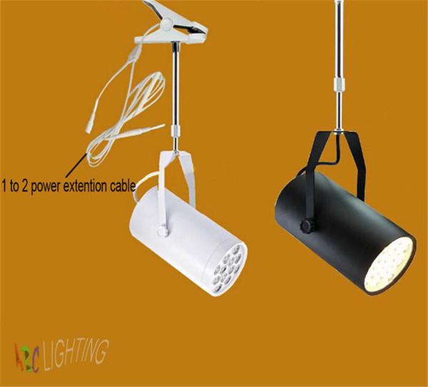 Cáscara negra o blanca 7W 12W 18w LED lámpara de clip 110V 220v 240V luz de pista clip de luz de lámpara de proyector mostrar exposición colgando
