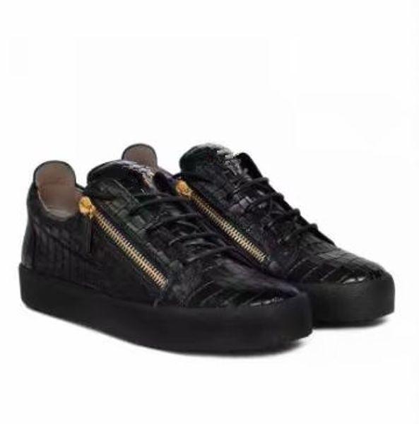 Yüksek kalite ücretsiz kargo siyah timsah tahıl deri erkek ve bayan ayakkabıları için, yüksek seviye moda sneakers chaoliu
