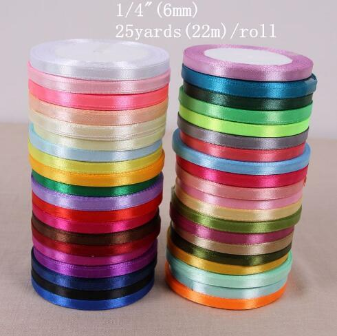 "best selling 22 Meters (25 Yards) Silk Satin Ribbon 1 4"" (6mm) Party Home Wedding Decoration Gift Wrapping Christmas New Year DIY Material"