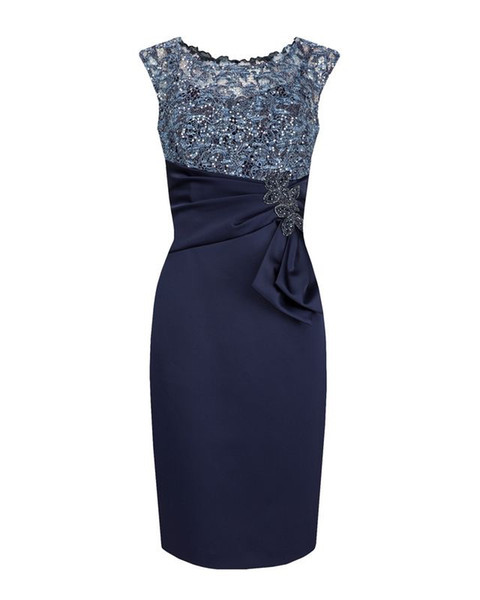 Hot Sell Dark Navy Knee Length Cap Sleeves Mother of the Bride Dresses In Stock for Wedding Party Mother of the groom Dresses