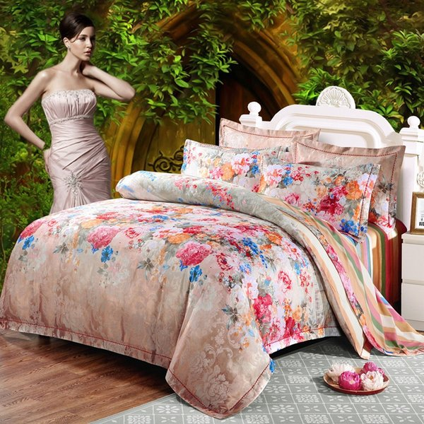 Red Flower jacquard duvet cover sets queen king size 4pcs Silk/Cotton Satin bed cover Boho bedding bed sheet pillowcase Home Decoration