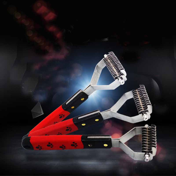 Stainless Steel 13 Blades Dog Hair Open Knot Brush Two Side Pet Grooming Practical Comb Cat Cow Printing Handle Brushes 13zx Z