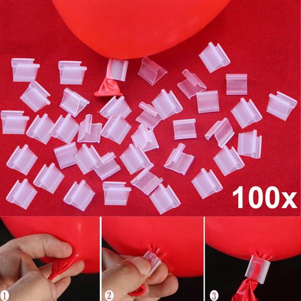 100 unids Latex Balloon PVC Clips Globos Sealing Clamps Bolas Accesorios Clip Ballon Botones Fuentes del partido FJ88